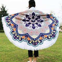 High-quality 150cm Mandala Printed Beach Towel Yoga Mat Blanket Tapestry Tablecloth Tassel Silk Scarf - NewChic Mobile.