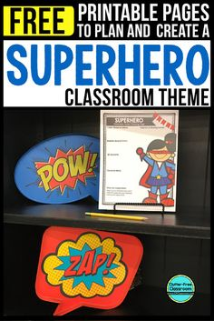 Photos, ideas & printable classroom decorations to help teachers plan & create an inviting superheroes themed classroom on a budget. Lots of free decor tips & pictures. Superhero School Theme, Superhero Classroom Decorations, Elementary Classroom Themes, School Themes, Classroom Activities, School Fun, Elementary Teacher, Classroom Ideas, Classroom Teacher