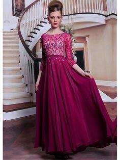 Alluring Pearls Chiffon Satin Jewel Neckline Floor-length A-line Evening Dress