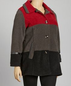 Take a look at this Red & Black Coat - Plus by INTL d.e.t.a.i.l.s. on #zulily today!