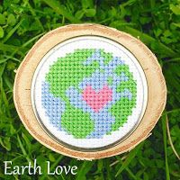 Floss & Fleece: Free printable Earth love cross-stitch chart