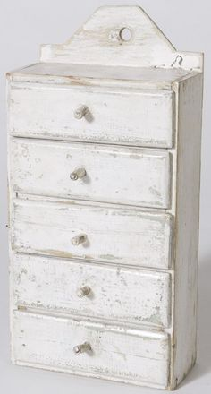 Early 20th C. Painted Pine 5 Drawer Spice Cabinet
