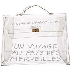 Hermès Transparent Vinyl Clear Kelly Souvenir De L'exposition 1997... (€8,48) ❤ liked on Polyvore featuring bags, handbags, satchel handbags, clear purses, clear vinyl handbags, transparent purse and white purse