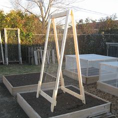 With some plywood, hardware cloth, fasteners, basic tools, and a little time, you can fashion a hinged A-frame trellis to support peas, beans, tomatoes, or other vining plants. Adapted from: http://www.vegetablegardener.com/item/8315/diy-a-frame-veggie-trellis