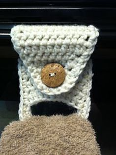 Instead of crocheting onto a towel, why not try crochet a towel holder? Now you can change out the towel when needed!