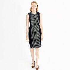 "We added double-serge wool to the sides and back of this striped wool tweed sheath dress for the most flattering look this side of the copy machine. <ul><li>Fitted silhouette.</li><li>Falls to knee, 37 1/4"" from high point of shoulder (based on size 6).</li><li>Wool/poly/other fibers.</li><li>Back zip.</li><li>Lined.</li><li>Dry clean.</li><li>Import.</li><li>Online only.</li></ul>"