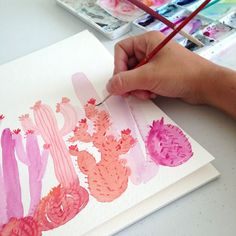 painting watercolor cactus in pink and coral! by Grow Creative Art