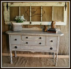 Distressed and refinished buffet :Rusted Treasure- It's only paint