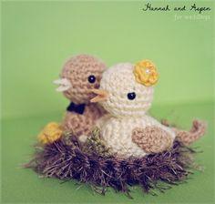 Crochet Bird Wedding Cake Topper  Bride And Groom Birds cakepins.com