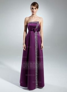 A-Line/Princess Strapless Floor-Length Satin Mother of the Bride Dress With Beading Sequins (008015527)