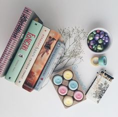 pastel books  (by @ursula_uriarte)