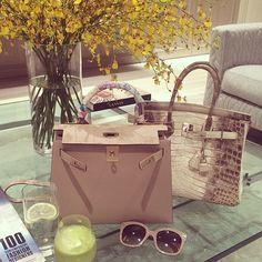 The elegance of Hermes Kelly and Hermes Birkin handbags. Hermes Bags, Mk Bags, Hermes Handbags, Purses And Handbags, Hermes Birkin, Birkin Bags, Balenciaga Handbags, Designer Handbags, Bling Bling