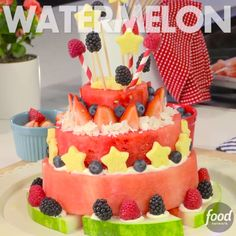 """Watermelon Cake Centerpiece -- Add a show-stopping Watermelon """"Cake"""" to your July 4th festivities. From Food Network and @Target"""