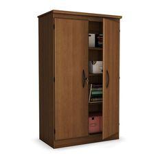Cherry 2-Door Storage Cabinet Wardrobe Armoire for Bedroom Living Room or Home Office