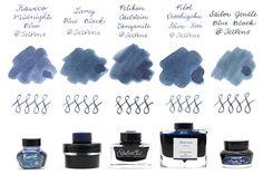 Blue Black Fountain Pen Ink Comparison - JetPens.com