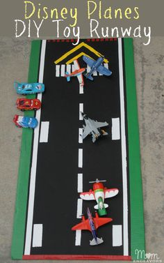 Planes DIY Toy Runway via . Easy to make & great for imaginative play!Disney Planes DIY Toy Runway via . Easy to make & great for imaginative play! Projects For Kids, Diy For Kids, Crafts For Kids, Disney Planes Birthday, Planes Party, Airplane Party, Crafty Kids, Toddler Fun, Disney Crafts