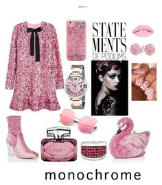 """""""monochrome pink"""" by shreeja on Polyvore featuring Cartier, H&M, Cape Robbin, Gucci, ban.do, L.A. Girl and Bling Jewelry"""