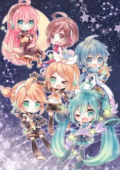 Vocaloid Luka, Meiko, Kaito, Miku, Rin and Len Anime Chibi, Kawaii Anime, Kawaii Chibi, Cute Chibi, Manga Anime, Otaku, Kagamine Rin And Len, Vocaloid Kaito, Kaito Shion