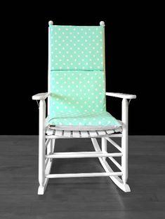 Mint Green Polka Dot Rocking Chair Cushion Cover | affordable, designer, custom, handmade, trendy, fashionable, locally made, high quality Ikea Kids Room, Rocking Chair Cushions, Chair Cushion Covers, Kids Room Organization, Kids Room Design, Slipcovers For Chairs, Mint Green, Outdoor Chairs, Polka Dots