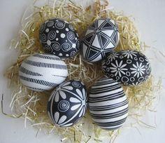 Easter Eggs set of 6 chicken eggs in Black by UkrainianEasterEggs, $80.00