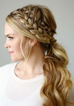 Summer Hairstyles : Double Braided Ponytail 101 Braid Ideas That Will Save Your Bad Hair Day (Phot Bun Updo, Braided Ponytail, Faux Braids, Boho Braid, Curly Ponytail, Micro Braids, No Heat Hairstyles, Summer Hairstyles, Hair Trends