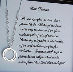 Best Friends Necklace Bridesmaid Gift by SoBlessedDesigns on Etsy, me and my Adela! Bff Gifts, Best Friend Gifts, Best Friends, Friends Forever, Cards For Friends, Gifts For Friends, Best Friend Necklaces, Bridesmaid Cards, Bridesmaids