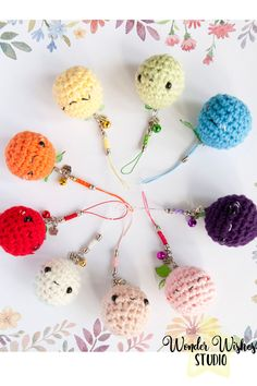 Berry Cute Amigurumi Keychains by Wonder Wishes Studio, available in my Etsy shop #crochet #kawaii #amigurumi #cute #cutekeychains #cuteamigurumi #amigurumicharms