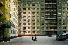 Norilsk, Russia. House, winter, kid