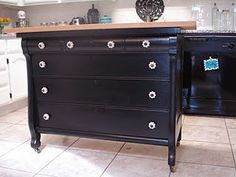 Old dresser repainted then added a butcher block top for the kitchen idea....smart!