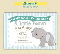 Little Peanut / Elephant Baby Shower Invitation - Printable