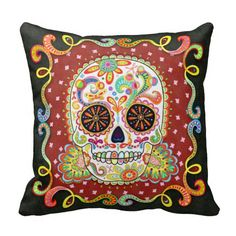 """This Colorful Sugar Skull Pillow features a funky psychedelic calavera celebrating Mexico's Day of the Dead, or Dia de los Muertos. The funky design for this Colorful Sugar Skull Pillow is based on the artwork of Thaneeya McArdle. You can see more of her art at her website, <a href=""""http://www.thaneeya.com"""">www.thaneeya.com</a>."""