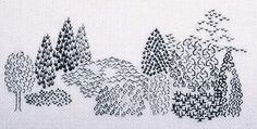 here, making distinctive trees in one color using repeated embroidery motifs. Blackwork Patterns, Blackwork Embroidery, Embroidery Motifs, Cross Stitch Embroidery, Geek Cross Stitch, Cross Stitch Patterns, Subversive Cross Stitches, Cross Stitch Pictures, Cross Stitching