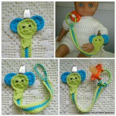 Tuttinauha, pacifier clip Crochet Baby Hats, Crochet Necklace, Handmade, Accessories, Bebe, Toys, Hand Made