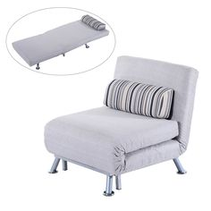 Homcom Fold Out Futon Sofa Bed Single Sofa Sleeper Couch Lounger Guest Bed w/ Bedding Pillow Grey (folding mattress + steel frame)