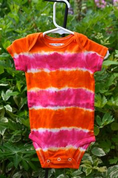 6-12 month Pink and Orange Tie Dye Short Sleeved by wumzydesigns