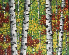 Original art, Birch Tree Painting, acrylic painting, contemporary art, dorm room wall decor
