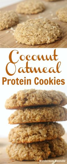 These Coconut Oatmeal Protein Cookies are not only some of the best-tasting cookies you'll ever eat, they're packed with protein and fiber to actually fill you up and give you energy for hours. via @wondermomwannab