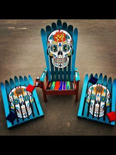 Mexican Sugar Skull/ Day of the Dead Ski by ColoradoSkiChairs Sugar Skull Decor, Sugar Skull Art, Sugar Skulls, Skull Furniture, Hand Painted Furniture, Candy Skulls, My Pool, Painted Chairs, Skull Design