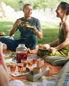 Picnic Ideas - love the metal baking tin to hold items!