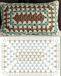 Crochet Granny Square Rectangle Yarns Ideas For 2019 Crochet Granny Square . Crochet Granny Square Rectangle Yarns Ideas For 2019 Crochet Granny Square Rectangle Yarns Crochet Cushion Cover, Crochet Pillow Pattern, Crochet Cushions, Granny Square Crochet Pattern, Crochet Blocks, Crochet Diagram, Crochet Stitches Patterns, Crochet Chart, Crochet Afghans