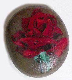 Original-Signed-Realistic-Rose-Painting-Acrylic-3-Rock-Art