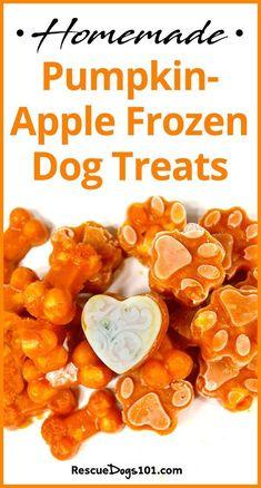 Homemade Pumpkin Carrot Frozen Dog Treats 7 different frozen dog treat recipes included - Dog Food - Ideas of Dog Food Dog Biscuit Recipes, Dog Treat Recipes, Healthy Dog Treats, Dog Food Recipes, Pet Treats, Homemade Dog Cookies, Homemade Dog Food, Pumpkin Dog Treats Homemade, Homemade Recipe
