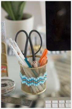 Embellish ordinary desk accessories with a few stitches.