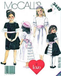 McCalls Sewing Pattern 3449 Girls Size 6 Formal Flower Girl Dress Sash Headband