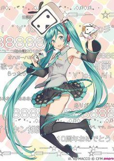 Hatsune Miku x Nico Nico Video Anime Kunst, Anime Art, Manga Girl, Kawaii Anime, Kaai Yuki, Vocaloid Characters, Hokusai, Miku Chan, Mikuo