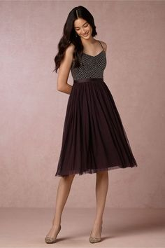 Chic short dark purple bridesmaid dress with beaded lattice bodice; Featured Dress: BHLDN
