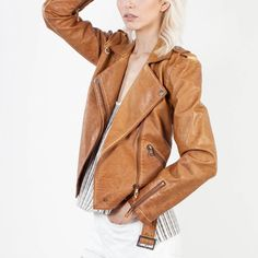 Camel Moto Leather Jacket New! Retails for over $105 Jackets & Coats