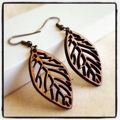 Leaf Earrings - Long Dangle Earrings - Laser Cut Wooden Jewelry - Nature Jewelry