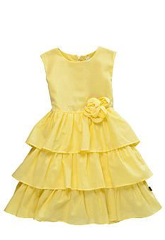 yellow flower girl dress would be pretty against blue bridesmaid dresses
