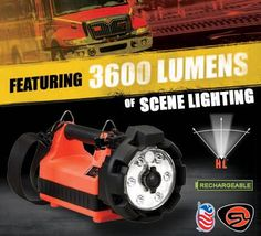 Streamlight E-Flood LiteBox HL. The first responder in illumination. The powerful, compact, highly portable, scene lighting solution. *8 hr. run time at 1,200 lumens. *4 hr. run time at 2,400 lumens. *2 hr. run time at 3,600 lumens. *Fits existing LiteBox chargers. *Runs indefinitely from 12V source.